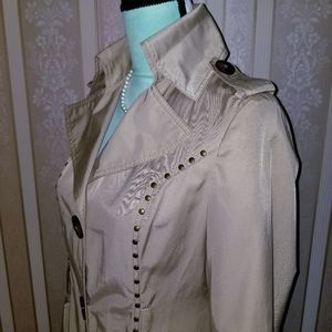 Miss Sixty Jackets & Coats - M60 Miss Sixty Tan Studded Peacoat Size Small